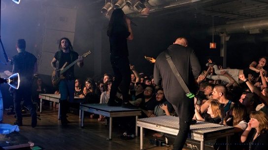 Joe Buras, David Darocha, Ronnie Canizaro, and Lee McKinney of Born Of Osiris performs at The Bottom Lounge on February 20, 2016