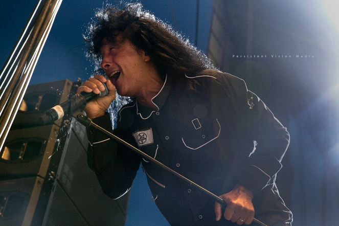 Joey Belladonna of Anthrax performs at Riot Fest Chicago on September 11, 2015 in Chicago, Illinois
