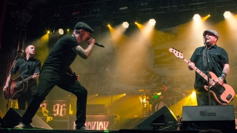 (L-F) Tim Brennan, Jeff DaRosa, Al Barr, Matt Kelly, and Ken Casey of Dropkick Murphys performs at the 20 Year Anniversary Tour at Aragon Ballroom on February 19, 2016 in Chicago, Illinois.