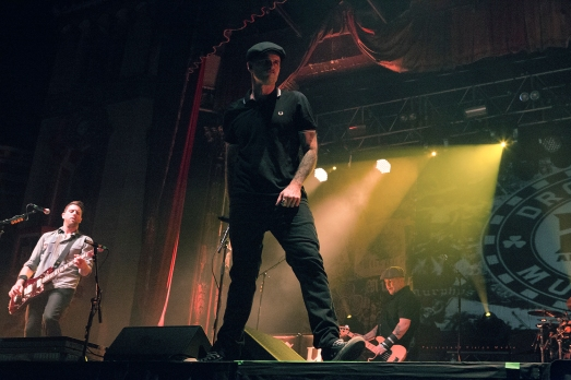 (L-F) Tim Brennan, Al Barr, and Ken Casey of Dropkick Murphys performs at the 20 Year Anniversary Tour at Aragon Ballroom on February 19, 2016 in Chicago, Illinois.