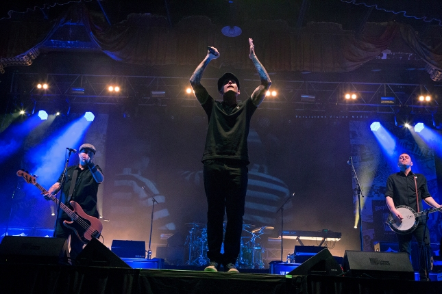 (L-R) Ken Casey, Al Barr, and Jeff DaRosa of Dropkick Murphys performs at the 20 Year Anniversary Tour at Aragon Ballroom on February 19, 2016 in Chicago, Illinois.