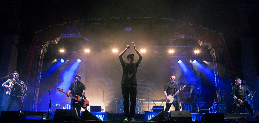 (L-F) Tim Brennan, Ken Casey, Al Barr, Jeff DaRosa, and James Lynch of Dropkick Murphys performs at the 20 Year Anniversary Tour at Aragon Ballroom on February 19, 2016 in Chicago, Illinois.